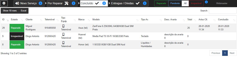 6 - Listagem dos serviços concluídos e que ainda não foram levantados pelo cliente. Filtros, ordenação e exportação para Excel em todas as listagens.